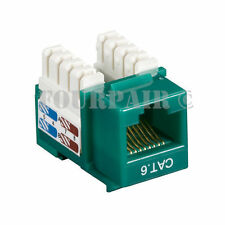 100 Pack Lot - CAT6 Network RJ45 110 Punch Down Keystone Snap-In Jack - Green