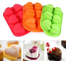 Silicone Muffin 6 Hearts Shape Cake Mold Moulds For Cupcake Pudding Baking Tool