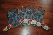Lot Of 4 Vintage Annie Stupell Black Terrier Dog Wood Hangers Wall Decor