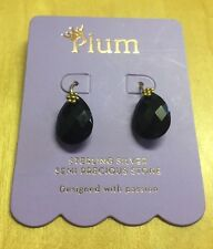 NEW Plum Sterling Silver Semi Precious Black Stone Earrings Costume Jewellery