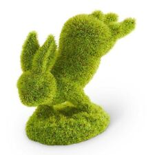 """5"""" Moss Bunny Rabbit Jumping Standing on Front Feet Figure Easter Decoration"""