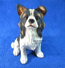 "Premium Grade ""Sitting Papillon Puppy"" Resin Statue for Home Decor #01"