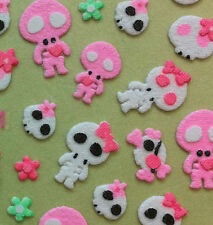 Cotton Nail Art 3D Sticker Decal Cute Pink Skull Skeleton 51pcs/sheet Halloween