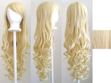 29'' Long Curly w/ Long Bangs Flaxen Blonde Cosplay Wig NEW