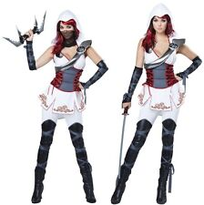 White Black Female Assassins Costume Templars Creed Spies Ninja Aveline Parkour