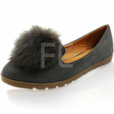 NEW WOMENS FLAT LOW WEDGE POM POM LOAFERS BALLERINA PUMPS SHOES SIZE SCHOOL FUR