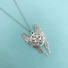 Gorgeous Angel Wings & Pentagram Stainless Steel Necklace. Supernatural Jewelry