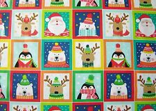Christmas NOVELTY fabric squares 100% cotton 112cm wide x 2 rows= 22 pictures