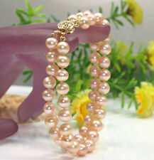 Hot new 2 row AA 7-8mm pink freshwater pearl bracelet 7.5''