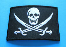BRAND NEW JOLLY ROGER PIRATE FLAG SKULL WITH CROSS SWORDS BIKER IRON ON PATCH