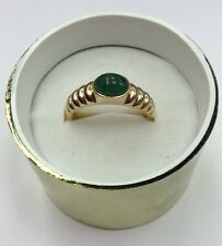***14K REAL GOLD*** Women's Real Cabison EMERALD RING SZ 8 / 3.3g