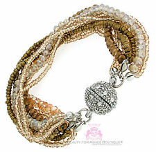Bronze Seed Bead Magnetic 9 Strand Layered Bracelet Pave Ball Crystal Silver