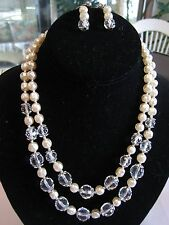 VTG Glass Pearl and Cut Crystal 2 Strand Beaded Necklace Screwback Earrings SET