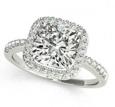 2.60 CT FOREVER BRILLIANT MOISSANITE CUSHION HALO MICRO PAVE ENGAGEMENT RING