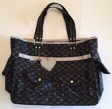 Large Roxy Tote Bag with Feet and 5 Exterior Pockets Black & Gray Logo