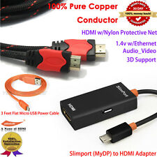 3-IN-1 Slimport MyDP To HDMI HD Adapter Cable For Google Nexus 4/5 LG G3/2 Vista