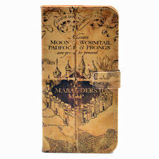 Vintage Harry Potter Marauders Map Leather Wallet Cards Case For iphone 7 New