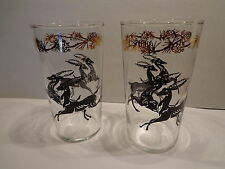 VINTAGE Lot of 2 SWANKY SWIG Juice Glasses ANTELOPE Black & Gold DEER Animal