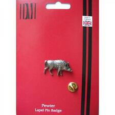 Silver Wild Boars Pewter Lapel Pin Badge Handmade In England Boar Badges New