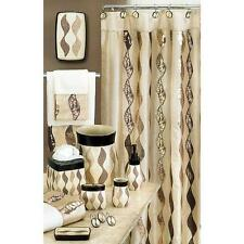 Popular Home The Shimmer Collection Fabric Shower Curtain, Gold New