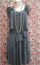 SIZE 10 20'S DECO FLAPPER CHARLESTON VINTAGE STYLE DRESS BEADED # US 6 EU 38