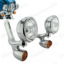 Auxiliary Lighting Bracket Turn Signal Spot Fog Light For Harley 1994-UP Touring