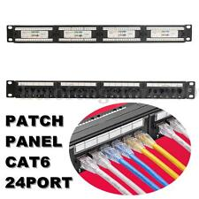 19'' 24 Ports RJ45 CAT6 Ethernet Network Patch Panel Wall/Rack Mount Bracket AU