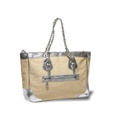 Global Glamour Fashion Globetrotter - Natural/Silver Tote NEW