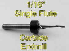 "1/16"" Carbide End Mill - One Flute - Single Flute CNC Aluminum Plastic Acrylic N"