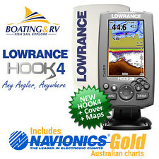 Lowrance HOOK 4 Fish finder / Chartplotter Navionics + Cover + Trans - FREE POST