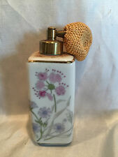 Vintage Irice White Ceramic Perfume Bottle With Flowers & Gold Trimming w/Pump