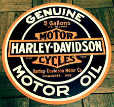 HARLEY DAVIDSON MOTORCYCLE MOTOR OIL BAR & SHIELD LOGO ROUND EMBOSSED METAL SIGN