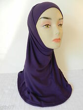 Purple Two Piece Plain Hijab Muslim Head Wear Cover Women Scarf Cap Islam Cotton
