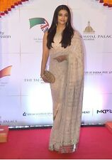 UK- Stunning Indian Designer Bollywood Aishwarya Rai Ivory partywear Saree Sari