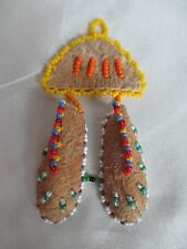 Native American Handmade Beaded Leather Mini Moccasins Hanging