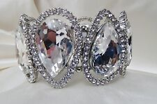 """B520 OLD HOLLYWOOD LARGE CRYSTAL STRETCH BRACELET 1.75""""  PROM  BRIDESMAID GIFT"""
