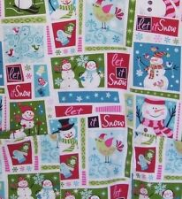 Nurse Scrub Let It Snow SB Scrubs Small Christmas Holiday Snowman Birds V-Neck