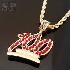 "MEN HIP HOP GOLD PT ICED OUT CZ MINI EMOGI 100 PENDENT & 24"" ROPE CHAIN NECKLACE"