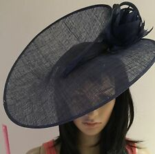 NAVY BLUE WEDDING ASCOT Disc Hatinator Occasion FORMAL HAT Mother Of The Bride