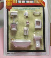 """Miniature Dollhouse 8 Pc Plastic Bathroom Set 1/4"""" 1:48"""