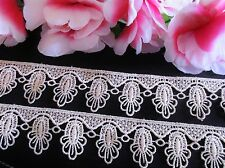 Beige cream Vintage embroidery lace trim  - price for 1 yard