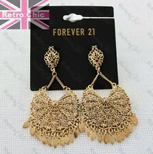 "BIG 3""long FILIGREE GYPSY EARRINGS gold fashion LARGE ornate METAL VINTAGE LACE"