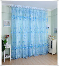 Tulip Beads Tulle Voile Door Window Curtain Drape Sheer Valance Blue 1x2M