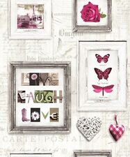 Muriva Live Laugh Love Wallpaper 131501 - Butterfly Heart Rose Typography Pink