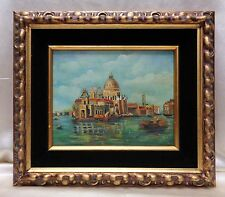 Beautiful Canoes in Venice Landscape Oil Painting w. Antique Gold Wooden Frame