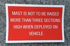 MILITARY LAND ROVER XD WOLF BOWMAN CLANSMAN CLARKE MAST Warning Decal 3 Sections