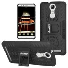 AMZER Dual Layer Hybrid Rugged Warrior Case w/ Stand For Lenovo K5 Note - Black