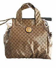 NEW Authentic GUCCI Crystal GG Canvas Hysteria Top Handle Handbag Large 286305
