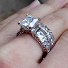 Princess White Cz 925 Sterling Silver Wedding Band Engagement Ring Sets Size 8