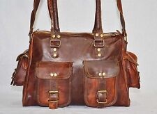 Handmade leather shoulder satchel vintage messenger bag briefcase for ladies